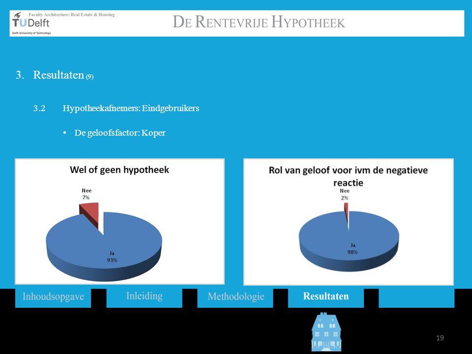Resultaten (9) 3.2 Hypotheekafnemers: Eindgebruikers