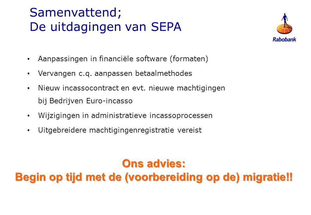 Samenvattend; De uitdagingen van SEPA