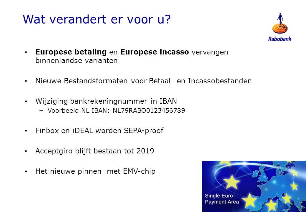 Wat verandert er voor u Europese betaling en Europese incasso vervangen binnenlandse varianten.