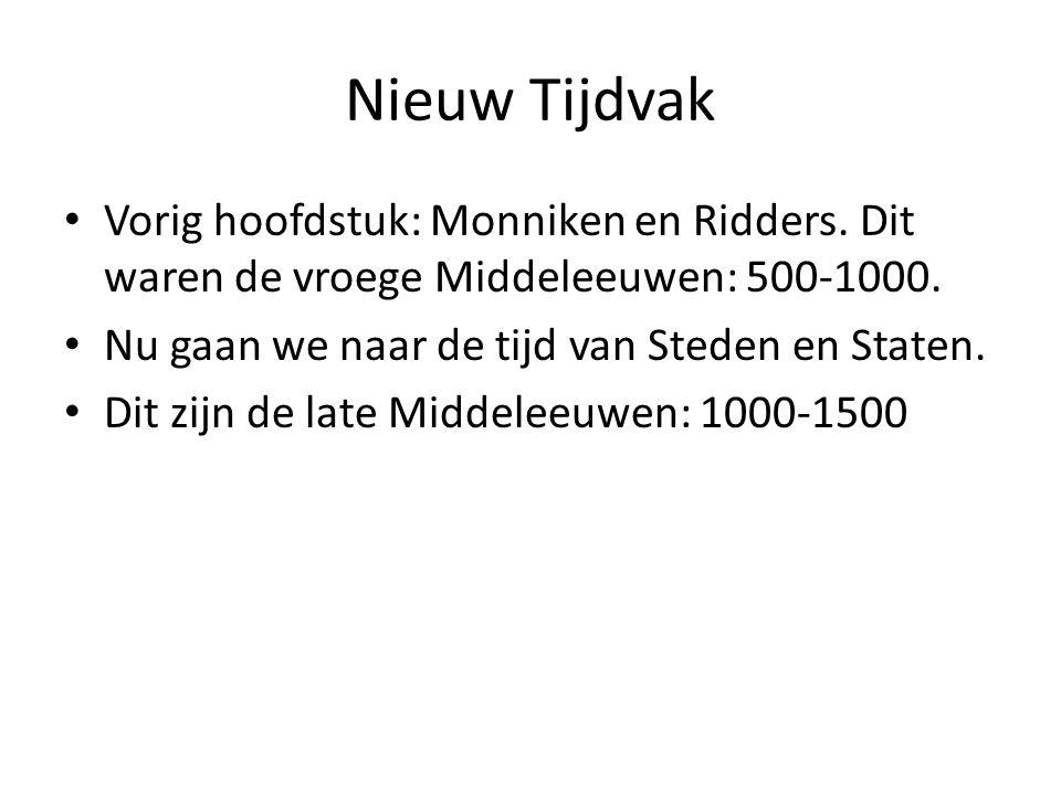Nieuw Tijdvak Vorig hoofdstuk: Monniken en Ridders. Dit waren de vroege Middeleeuwen: 500-1000. Nu gaan we naar de tijd van Steden en Staten.