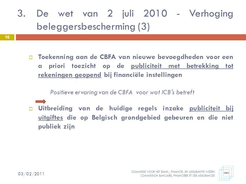 De wet van 2 juli 2010 - Verhoging beleggersbescherming (3)