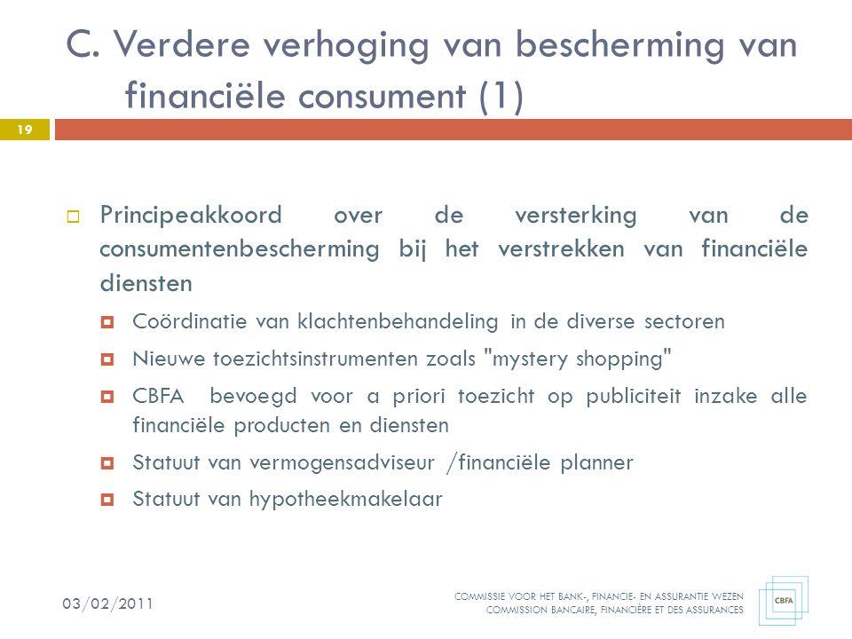 C. Verdere verhoging van bescherming van financiële consument (1)