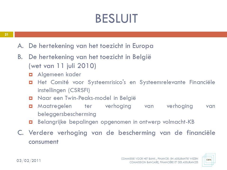 BESLUIT A. De hertekening van het toezicht in Europa
