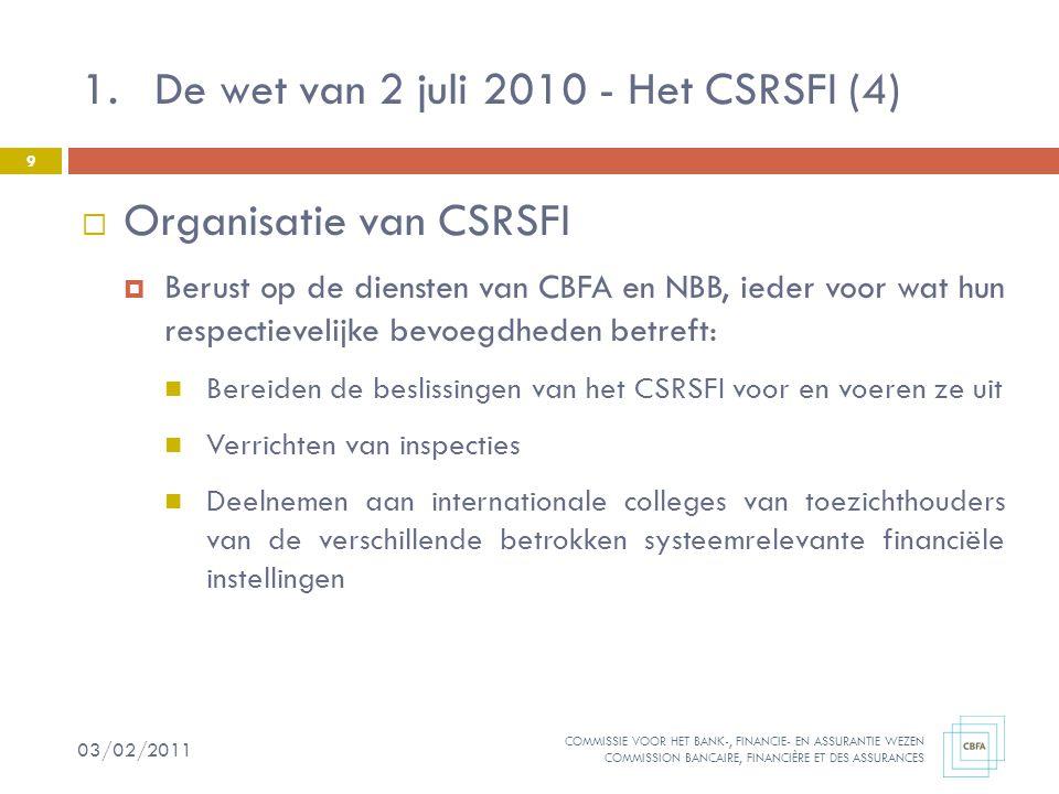 De wet van 2 juli 2010 - Het CSRSFI (4)