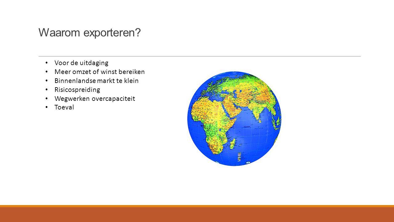 Waarom exporteren Voor de uitdaging Meer omzet of winst bereiken