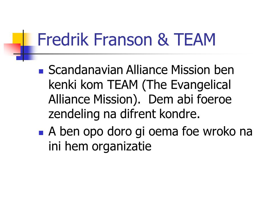 Module 9 Lesson 9 Fredrik Franson & TEAM.
