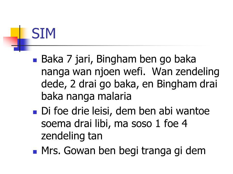 SIM Baka 7 jari, Bingham ben go baka nanga wan njoen wefi. Wan zendeling dede, 2 drai go baka, en Bingham drai baka nanga malaria.