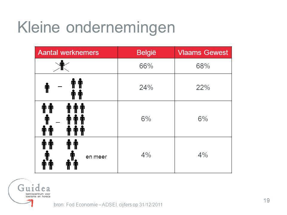 Kleine ondernemingen Aantal werknemers België Vlaams Gewest 66% 68% _
