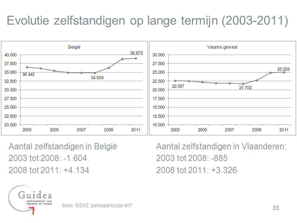 Evolutie zelfstandigen op lange termijn (2003-2011)