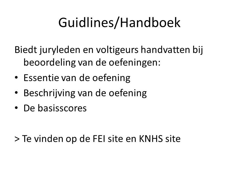 Guidlines/Handboek Biedt juryleden en voltigeurs handvatten bij beoordeling van de oefeningen: Essentie van de oefening.