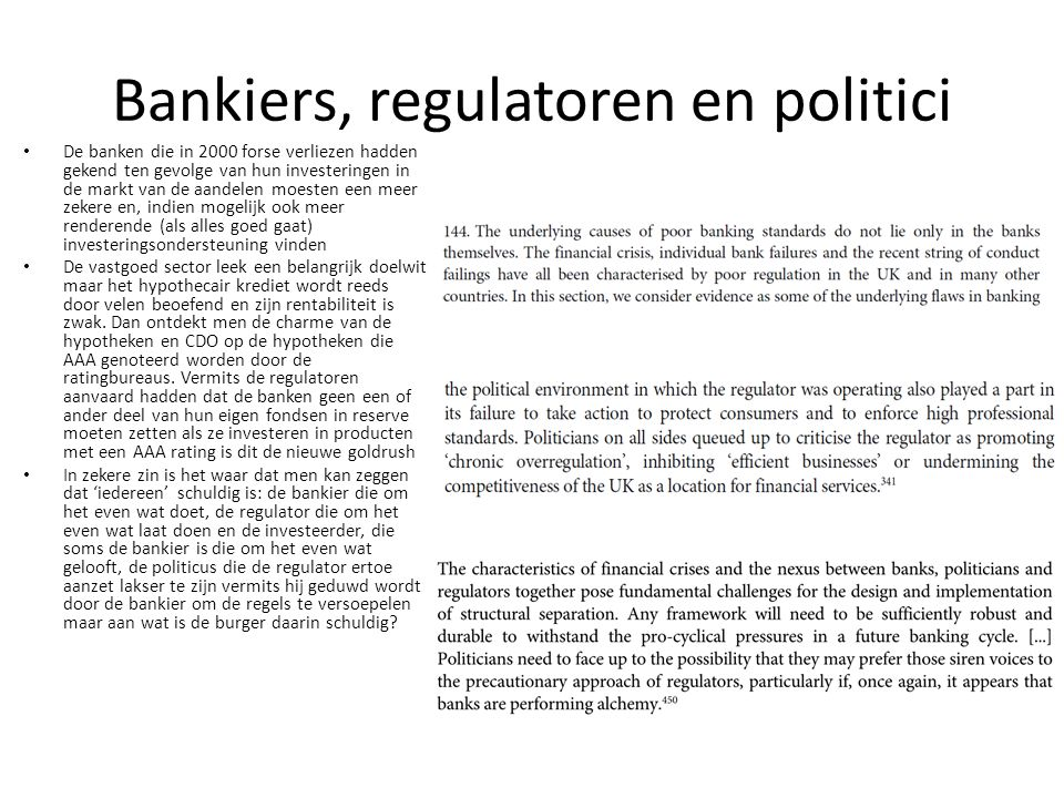 Bankiers, regulatoren en politici