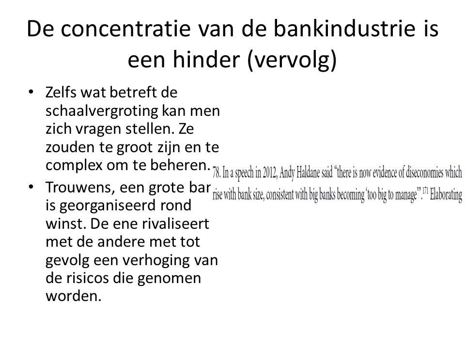 De concentratie van de bankindustrie is een hinder (vervolg)