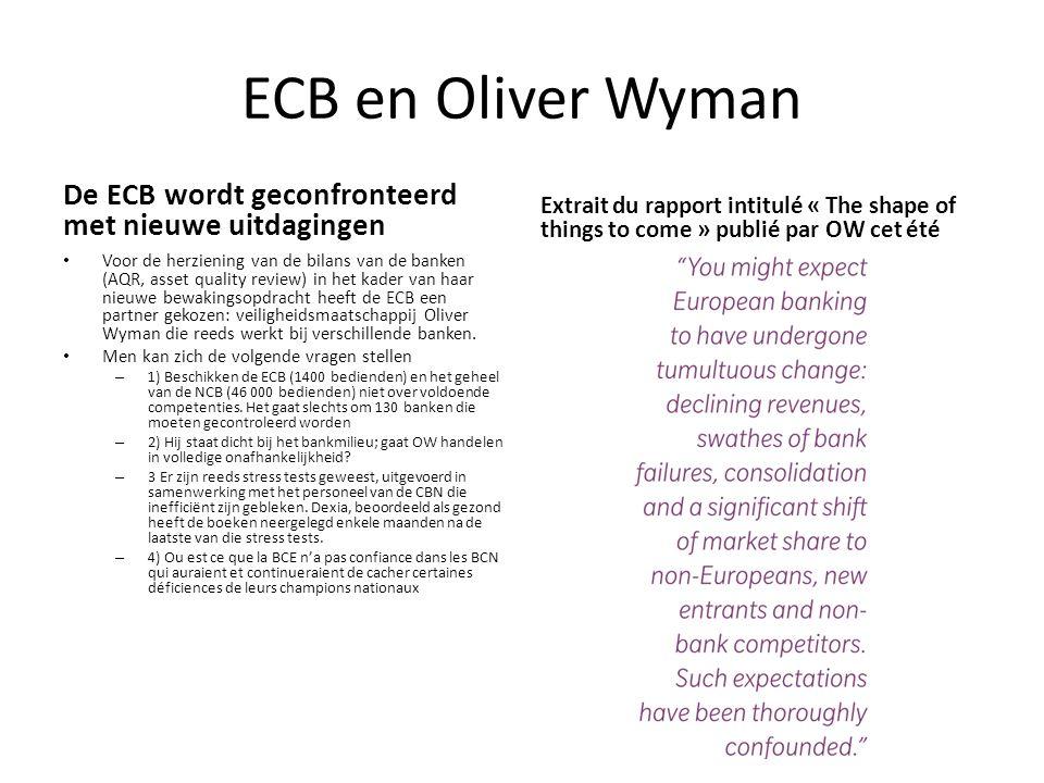 ECB en Oliver Wyman De ECB wordt geconfronteerd met nieuwe uitdagingen