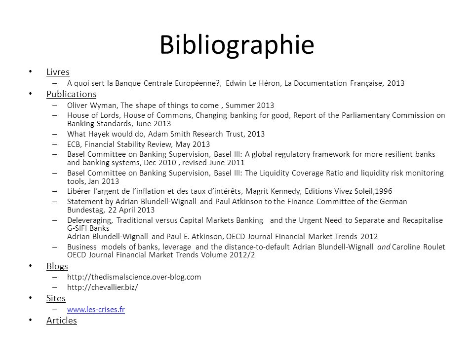 Bibliographie Livres Publications Blogs Sites Articles