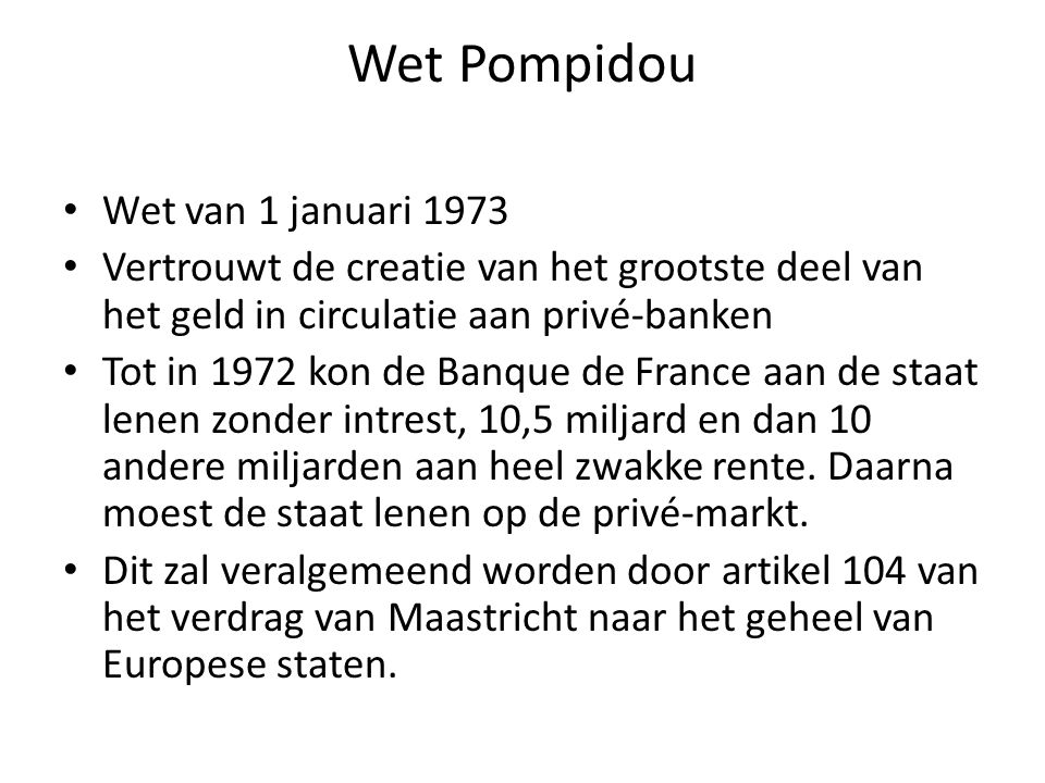 Wet Pompidou Wet van 1 januari 1973