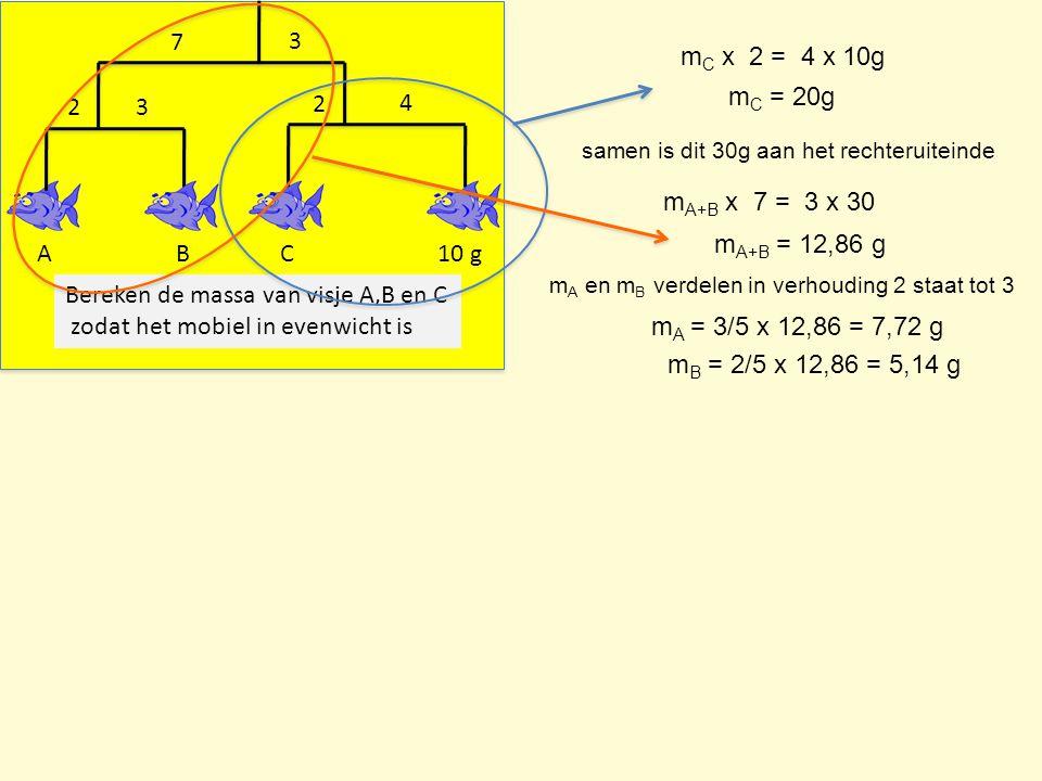 Bereken de massa van visje A,B en C zodat het mobiel in evenwicht is
