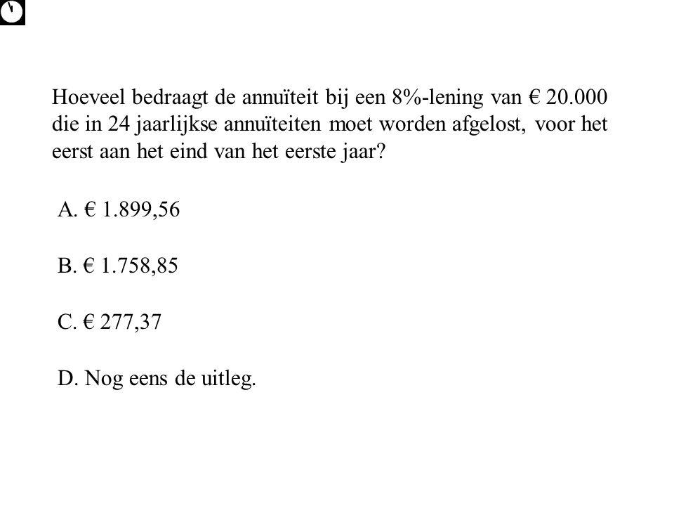 Hoeveel bedraagt de annuïteit bij een 8%-lening van € 20