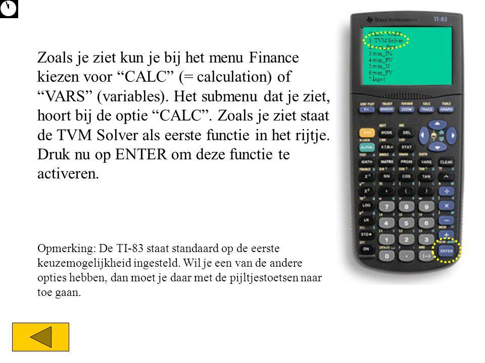 CALC VARS 1: TVM Solver 2: tvm_Pmt 3:tvm_I% 4:tvm_PV 5:tvm_N 6:tvm_FV 7npv(