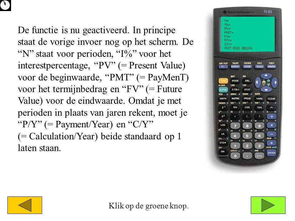N= I%= PV= PMT= FV= P/Y= C/Y= PMT: END BEGIN