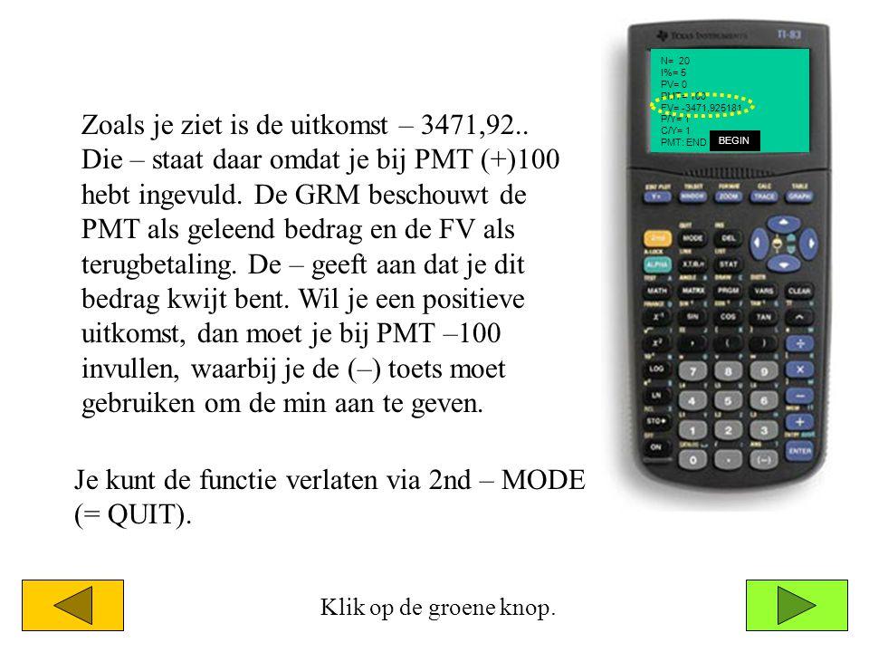 Je kunt de functie verlaten via 2nd – MODE (= QUIT).