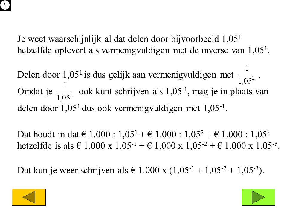Je weet waarschijnlijk al dat delen door bijvoorbeeld 1,051 hetzelfde oplevert als vermenigvuldigen met de inverse van 1,051.