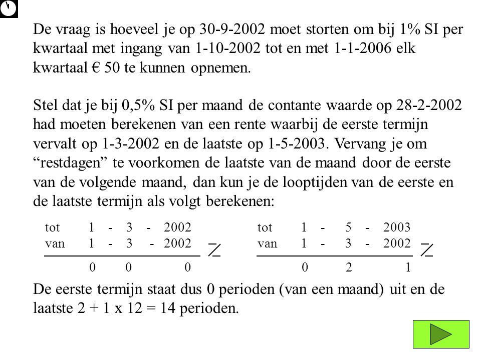 De vraag is hoeveel je op 30-9-2002 moet storten om bij 1% SI per kwartaal met ingang van 1-10-2002 tot en met 1-1-2006 elk kwartaal € 50 te kunnen opnemen.