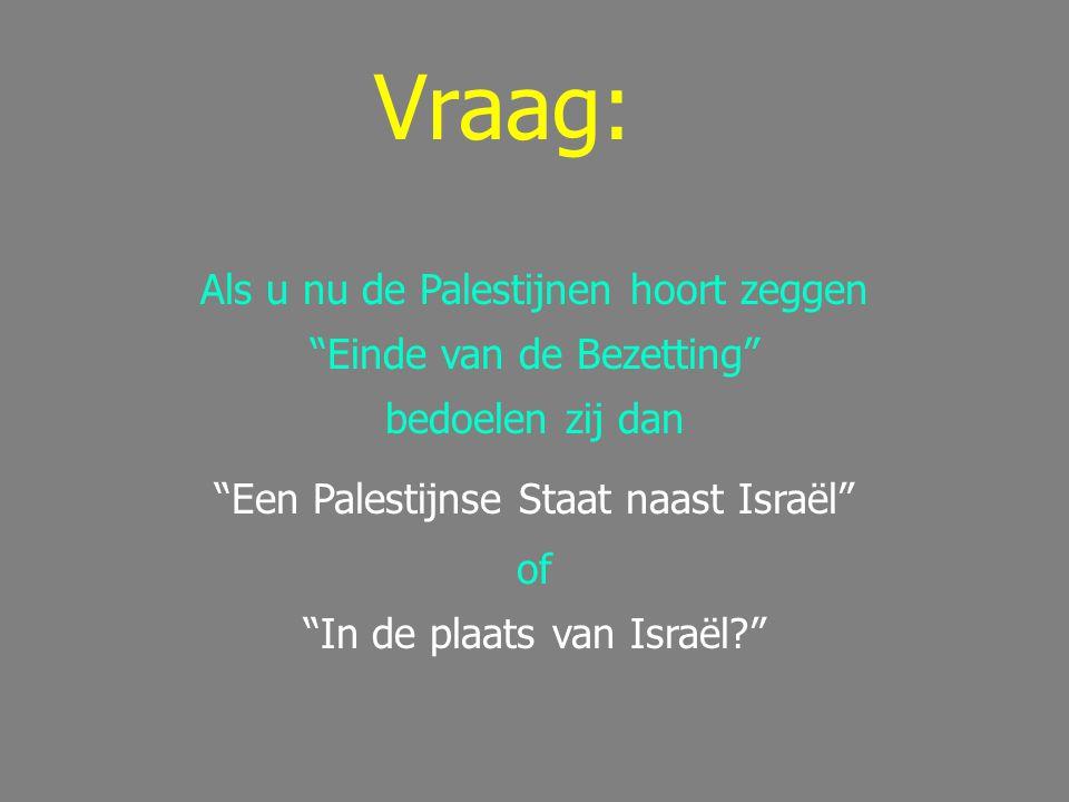 Vraag: Als u nu de Palestijnen hoort zeggen Einde van de Bezetting