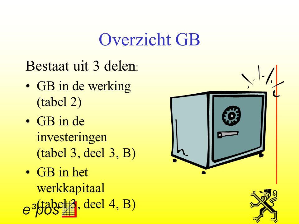 Overzicht GB Bestaat uit 3 delen: GB in de werking (tabel 2)