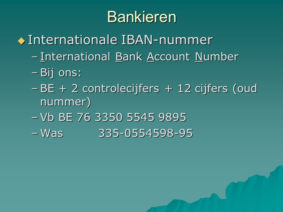 Bankieren Internationale IBAN-nummer International Bank Account Number