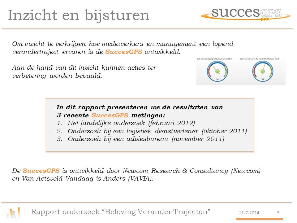 Inzicht en bijsturen Rapport onderzoek Beleving Verander Trajecten