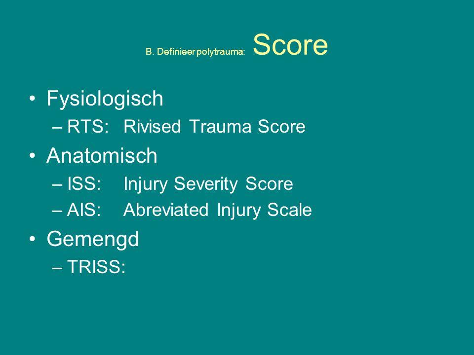 B. Definieer polytrauma: Score