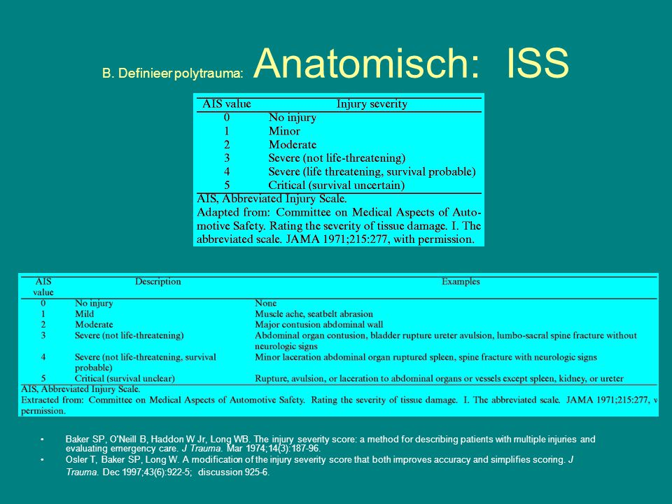 B. Definieer polytrauma: Anatomisch: ISS