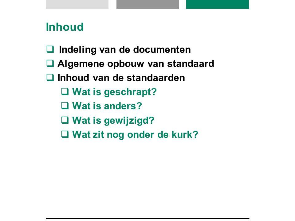 Inhoud Indeling van de documenten Algemene opbouw van standaard