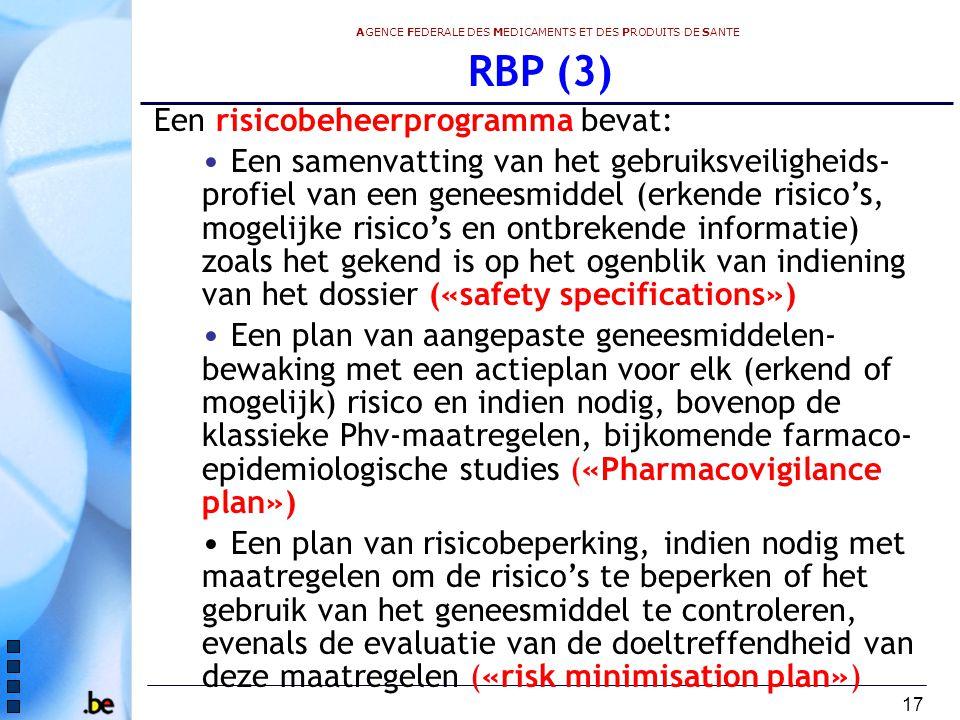 RBP (3) Een risicobeheerprogramma bevat: