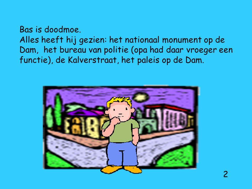 Bas is doodmoe. Alles heeft hij gezien: het nationaal monument op de Dam, het bureau van politie (opa had daar vroeger een functie), de Kalverstraat, het paleis op de Dam.
