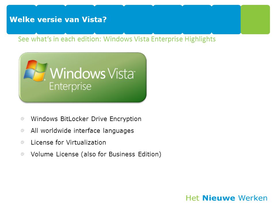 See what's in each edition: Windows Vista Enterprise Highlights