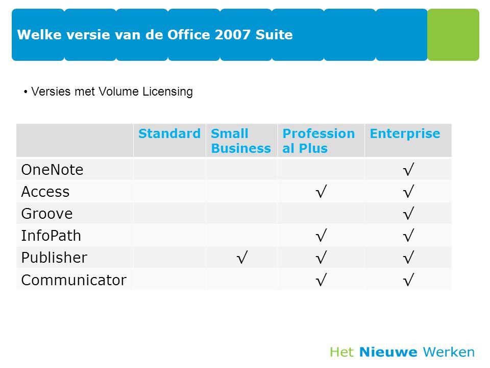 Welke versie van de Office 2007 Suite