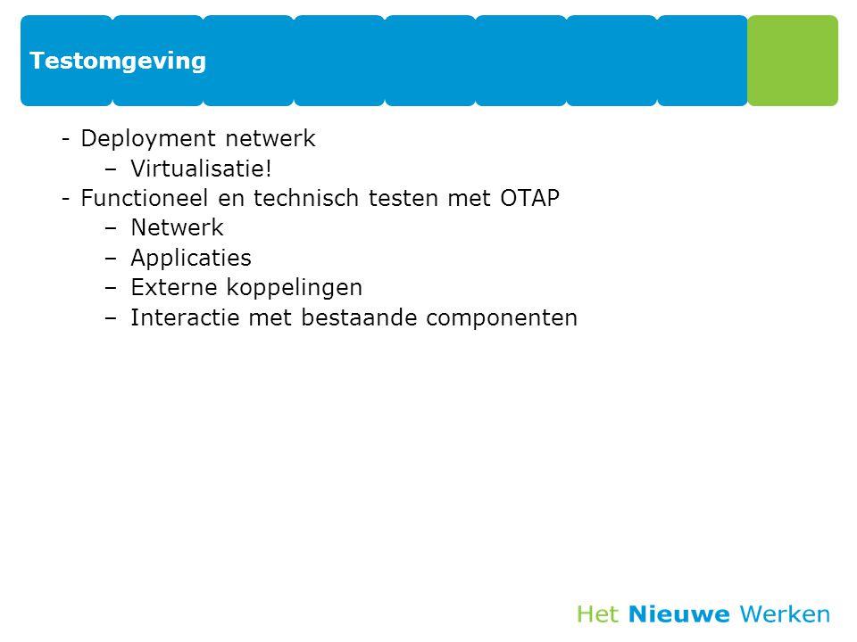 Testomgeving Deployment netwerk. Virtualisatie! Functioneel en technisch testen met OTAP. Netwerk.