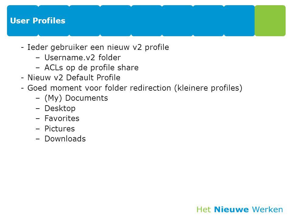 User Profiles Ieder gebruiker een nieuw v2 profile. Username.v2 folder. ACLs op de profile share.