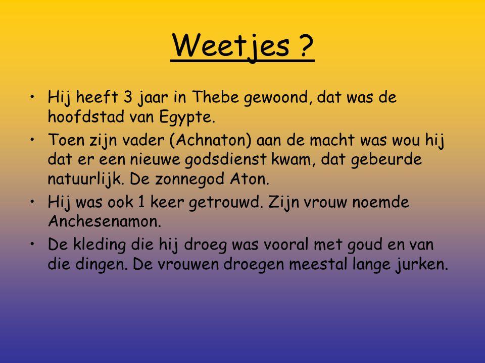 Weetjes Hij heeft 3 jaar in Thebe gewoond, dat was de hoofdstad van Egypte.