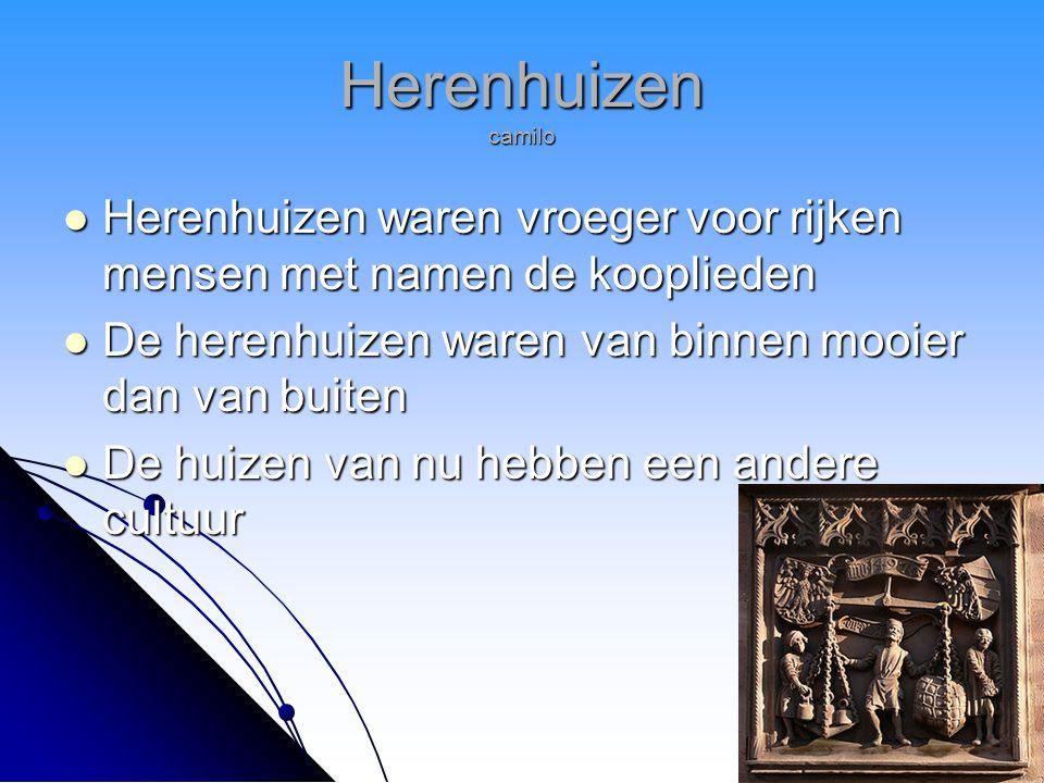 Herenhuizen camilo Herenhuizen waren vroeger voor rijken mensen met namen de kooplieden. De herenhuizen waren van binnen mooier dan van buiten.