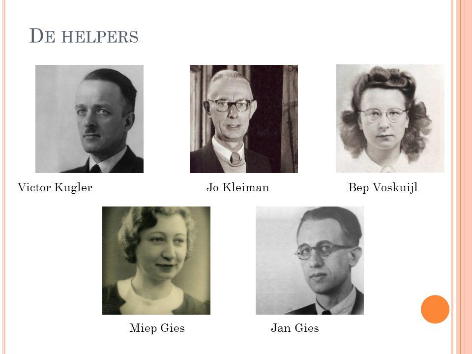 De helpers Victor Kugler Jo Kleiman Bep Voskuijl Miep Gies Jan Gies