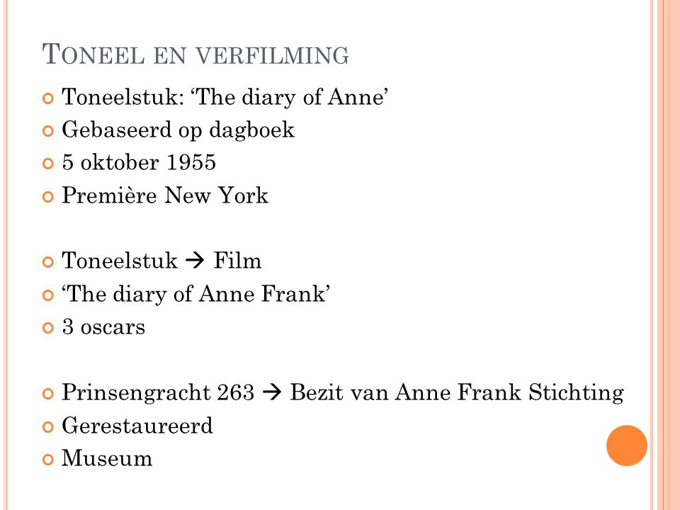Toneel en verfilming Toneelstuk: 'The diary of Anne'