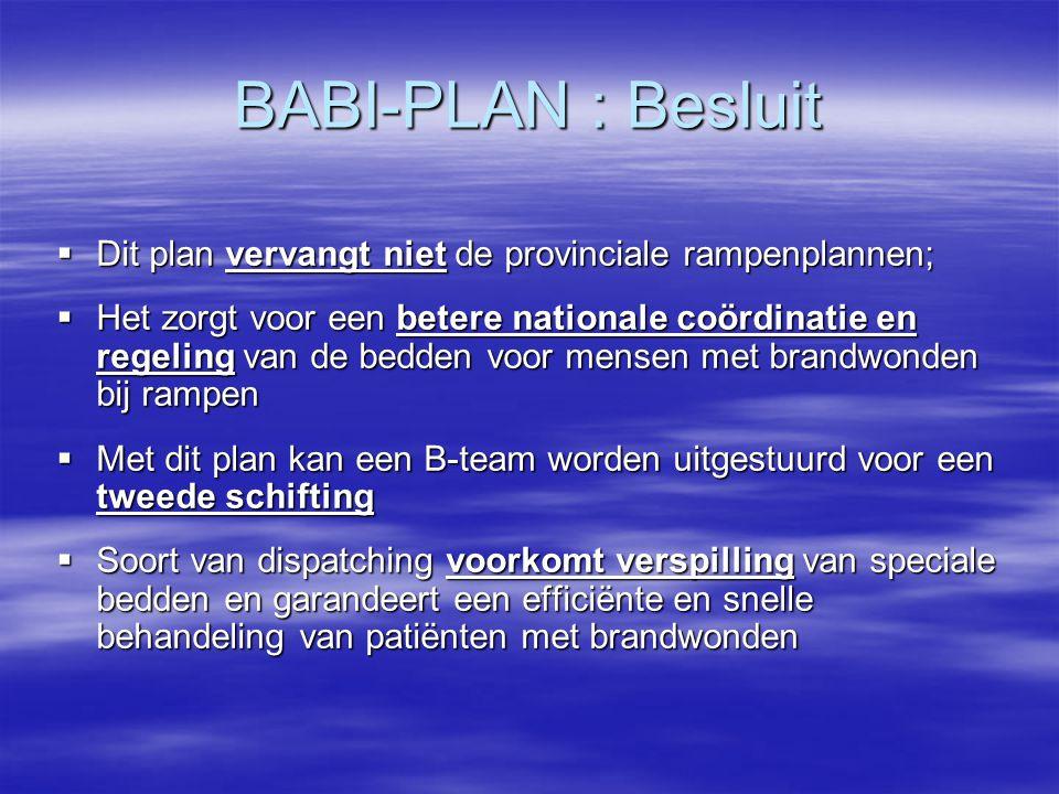 BABI-PLAN : Besluit Dit plan vervangt niet de provinciale rampenplannen;
