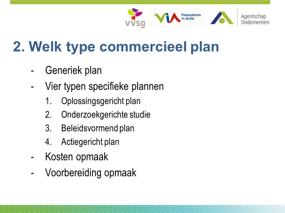 2. Welk type commercieel plan