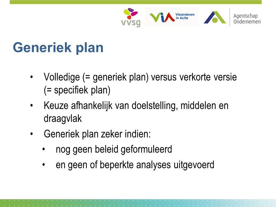 Generiek plan Volledige (= generiek plan) versus verkorte versie (= specifiek plan) Keuze afhankelijk van doelstelling, middelen en draagvlak.