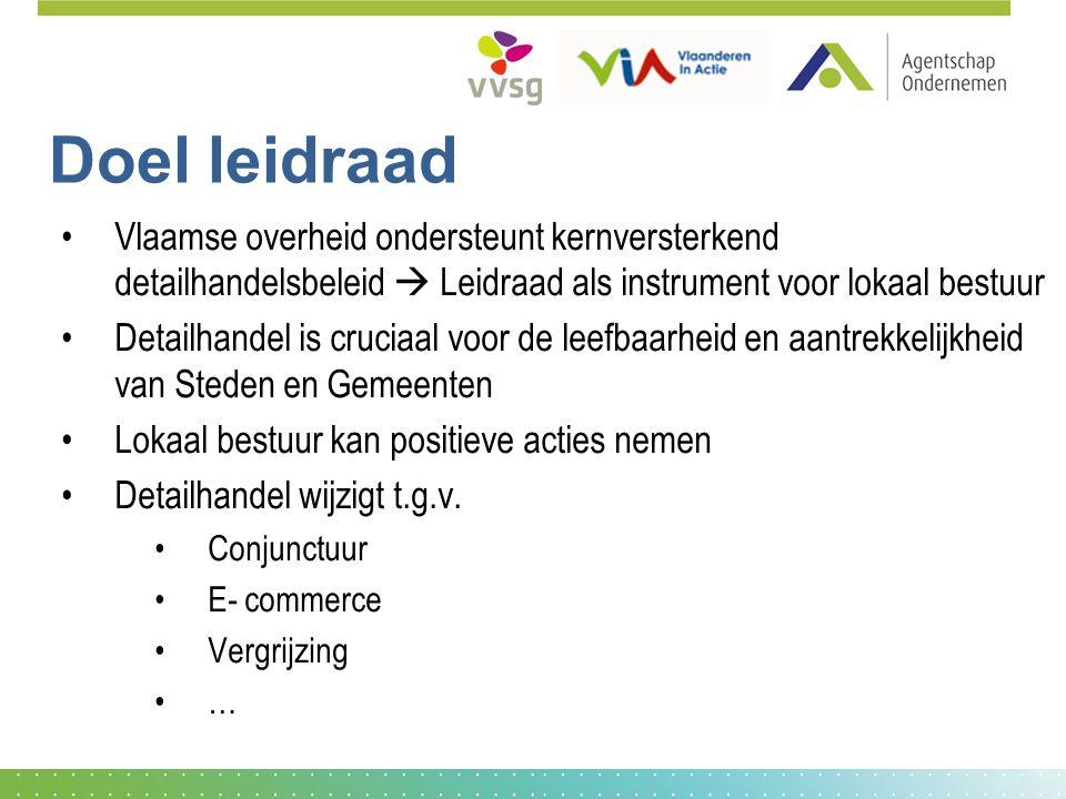 Doel leidraad Vlaamse overheid ondersteunt kernversterkend detailhandelsbeleid  Leidraad als instrument voor lokaal bestuur.