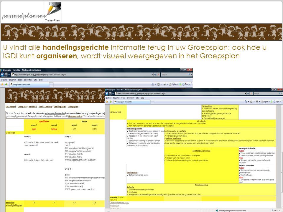 U vindt alle handelingsgerichte informatie terug in uw Groepsplan; ook hoe u IGDI kunt organiseren, wordt visueel weergegeven in het Groepsplan
