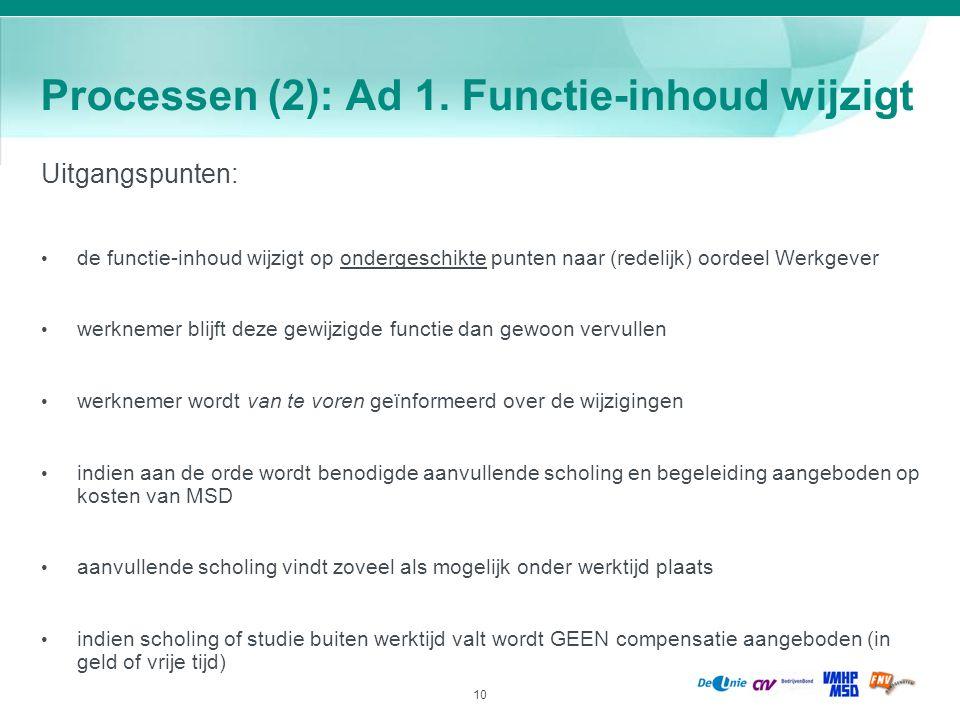 Processen (2): Ad 1. Functie-inhoud wijzigt
