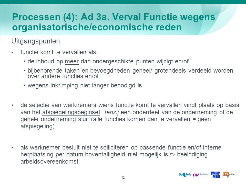 Processen (4): Ad 3a. Verval Functie wegens organisatorische/economische reden